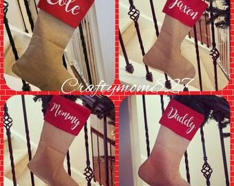 Burlap stocking, Christmas stocking, monogrammed stocking, personalized stocking, red burlap stocking, Christmas gift, wine tote, holiday