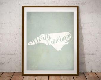 Housewarming Gift - State Art - North Carolina Print - North Carolina Art - North Carolina Home - New Home Gift - North Carolina Decor
