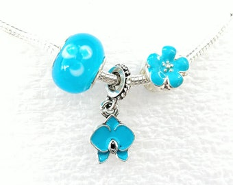 Aqua Blue Orchid Dangle Charm Flower Beads Set Fit Pandora European Bracelets