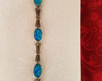 Sterling Silver Bracelet with Blue Opals