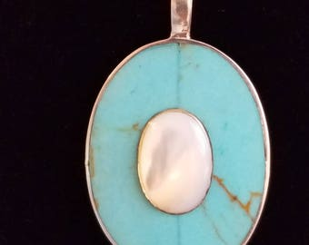 CP051 Vintage Sterling Silver Necklace with Turquoise and White Center Cabochon
