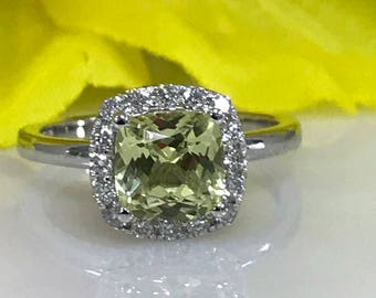 Sapphire Sweet Yellow Cushion Cut and Genuine Diamond  Halo Ring  Set In 14k White Gold #5225