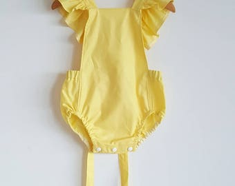 Baby girls romper // playsuit // ruffle wing // tie back // yellow // feminine // baby gift // baby shower
