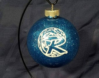 "Riverhead Blue Waves - 4"" Glass Ball Ornament"