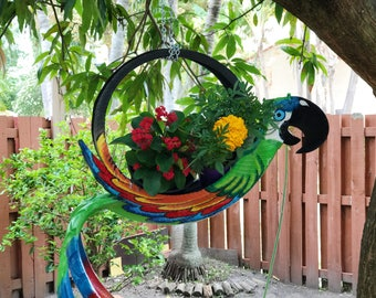 Outdoor Garden Planter - Bird planter - Bird feeder - Gardening Plant  Bird art - Handmade tire art - Tire decoration - Garden decor