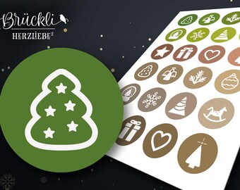 24 Christmas sticker / Christmas greetings / Weihnachstwünsche / gift stickers / Christmas symbols