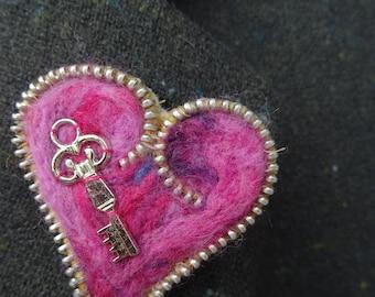 Handmade Needle Felted Heat embelished with a key