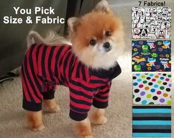 Dog Pajamas with snaps - Dog pj's - Playsuit - Jumpsuit - E collar alternative - Extra Small to Extra Large Sizes - CUSTOM ORDER