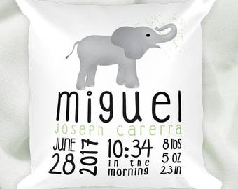 Custom Birth Announcement Pillow - 18x18 Square Pillow Case With Or Without Stuffing - Baby Elephant Green Pink Animal Fun Elephants Nursery