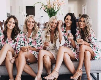 Bridesmaid Robes /Bridesmaids Robes / Cotton Bridal Robes / Bridesmaid Robes Cheap / Floral Robes / Wedding Day Robe / Party Robe