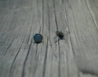 Stainless steel earrings cabochon blue