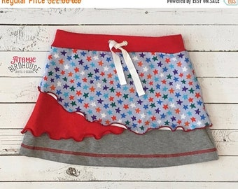 SALE Little Girls Patriotic Skirt size 5/6 - Red White Blue Clothing for Girls - Independence Day Clothes - Fourth of July Skirt - READY TO