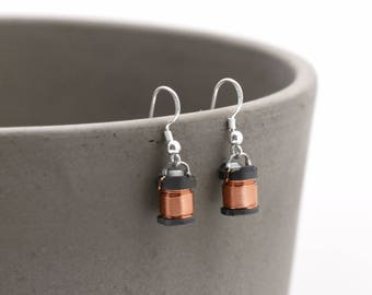 Copper Coil Dangle Upcycled Earrings