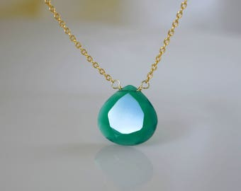 Fine necklace with green onyx Chalcedon pendant necklace 925 silver gold plated