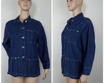 Vintage Womens 1980s / 1990s Denim Button Front Chore Jacket | Size M