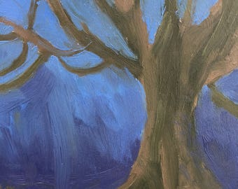 Darkened tree-oil paint on wood