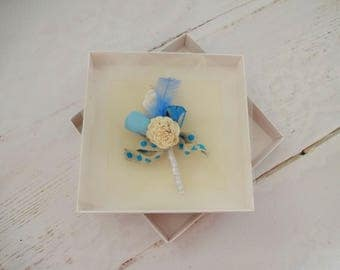 Beach Wedding Boutonniere, Blue Buttonhole, Sola Flowers Boutonniere, Seashell Grooms Lapel Pin, Nautical Grooms Buttonhole, Blue Lapel Pin