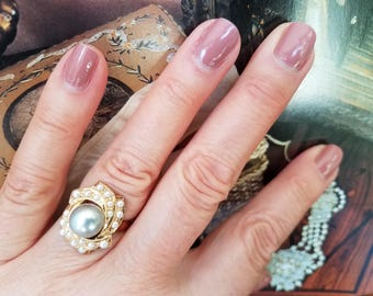 Antique 18K Gold Pearl Ring (size 7)