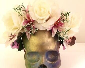 Large white and pink elegant floral Frida Kahlo Inspired head piece