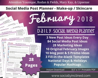 Social Media Planner - Make-up / Skincare Younique LipSense -February 84 social media post ideas, 28 marketing tips, blog posts, promo ideas