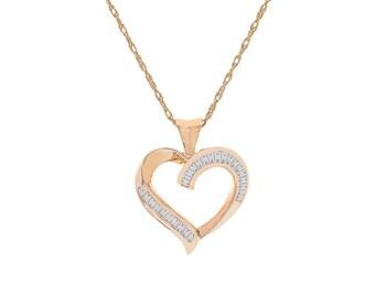 0.50 Carat Baguette Cut Diamond Heart Pendant Necklace 14K Yellow Gold