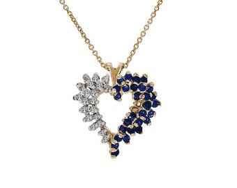 0.35 Carat Sapphire & 0.20 Carat Diamond Heart Pendant Necklace 14K Yellow Gold