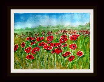 Watercolor Painting -  Original - Poppy Field - unframed
