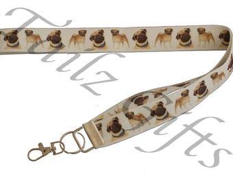 Pug Breed of Dog Lanyard or Keyring - Perfect Gift