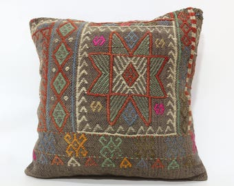 20x20 Handwoven Kilim Pillow Floor Pillow Sofa Pillow 20x20 Embroidered Kilim Pillow Ethnic Pillow Throw Pillow Cushion Cover SP5050-1914