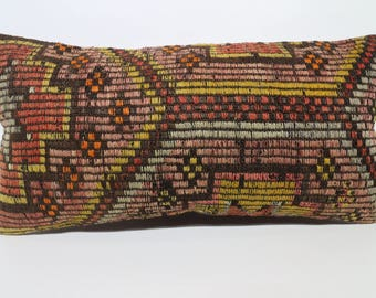 Embroidered Kilim Pillow Sofa Pillow Throw Pillow 12x24 Naturel Kilim Pillow Handwoven Kilim Pillow Boho Pillow Cushion Cover SP3060-1387