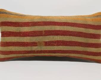12x24 tribal kilim pillow striped kilim pillow red and orange kilim pillow natural kilim pillow handwoven kilim pillow sham   SP3060-1593