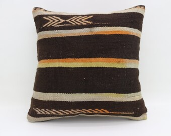 Striped Pillow Multicolor Kilim Pillow Black Pillow 20x20 Turkish Kilim Pillow Bohemian Cushion Cover Pillow Embroidered Pillow SP5050-2712