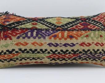12x24 Kilim Pillow Geometric Pillow Embroidered Pillow 12x24  White Striped Pillow Turkish Kilim Pillow Sofa Pillow Throw Pillow SP3060-1672