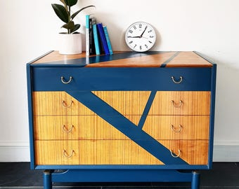 SOLD - Mid Century G PLAN upcycled TEAK Geometric Chest of Drawers