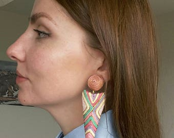 Colorful Geometric Rope Earrings Clips