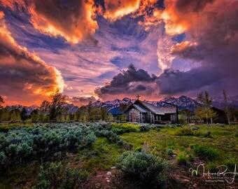 "Teton Photography, Wall Decor, Wyoming, Fine Art Photography, Wall Art, ""Sunset at the Chapel of Transfiguration"""