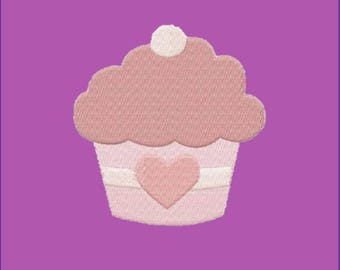 4X4 Heart Cupcake Machine Embroidery Design Multiple Formats Available - Instant Download