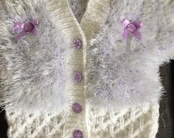 Baby cardi lilac & white