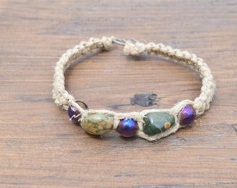 Hemp bracelet with jasper