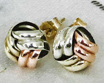Vintage 9ct tricolor gold ear studs - fully hallmarked