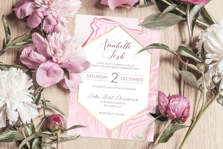 Marble Invitation, Wedding Invitation Template, Modern Wedding ...