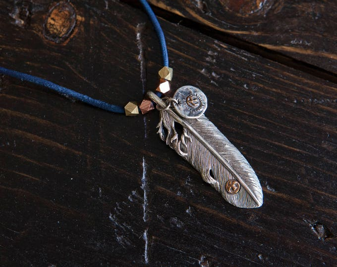 Sterling Silver Arrow Pendant Necklace with Thunderbird Stamp, and Stamped Tag on Indigo Dyed Leather Cord with Copper and Brass Beads