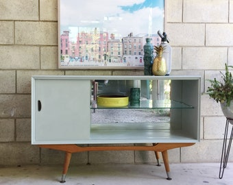 SOLD    Mid century sideboard in pale grey