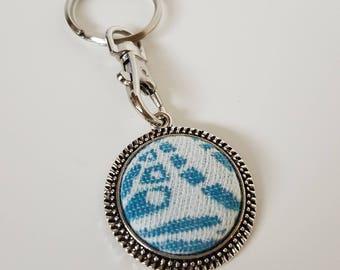 Key Chain - Lawilde - Latreille Ula - Wrap Scrap - Key Ring - Key Fob - Babywearing - Butterfly - Turquoise