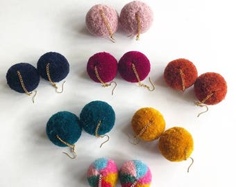 Custom design pompom earrings, fluffy earrings, design your own festival earrings, custom order valentines gift, festival fashion, colourful