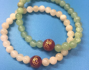 Dyed Jade Dragon Accent Stretch Bracelet