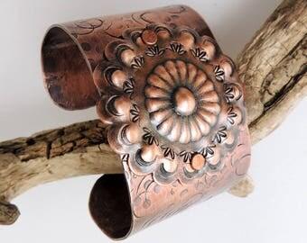 Handmade Copper Concho Cuff Bracelet