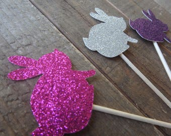12 Glitter Easter Cupcake toppers , Bunny Cupcake toppers , bunny toothpicks, Glitter Bunny Toppers