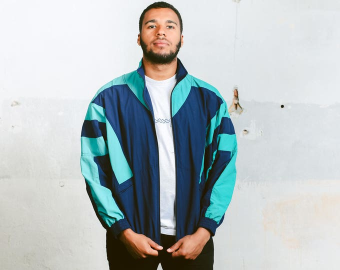 Men 90s Shell Jacket . Vintage Mens Wind Jacket 90s Spring Jacket Windbreaker Blue Sports Jacket Outerwear 1990s Activewear . size Large