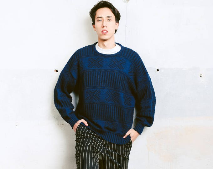 Blue Patterned Sweater .  Men's Retro Jumper Print Geometric 90s Clothing Unisex Clothing Knit Sweater Boyfriend Gift . size Large L